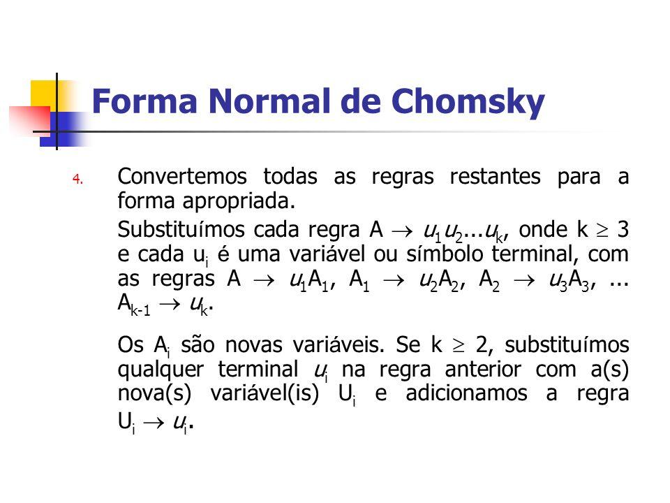 4. Convertemos todas as regras restantes para a forma apropriada. Substitu í mos cada regra A u 1 u 2...u k, onde k 3 e cada u i é uma vari á vel ou s
