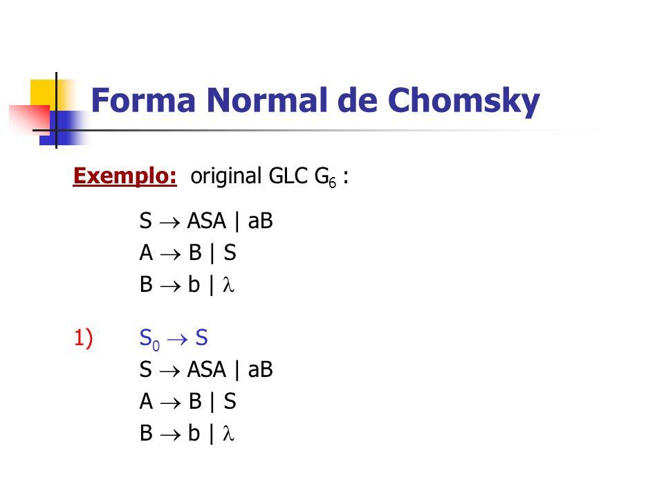 Exemplo: original GLC G 6 : Forma Normal de Chomsky S ASA | aB A B | S B b | 1) S 0 S S ASA | aB A B | S B b |