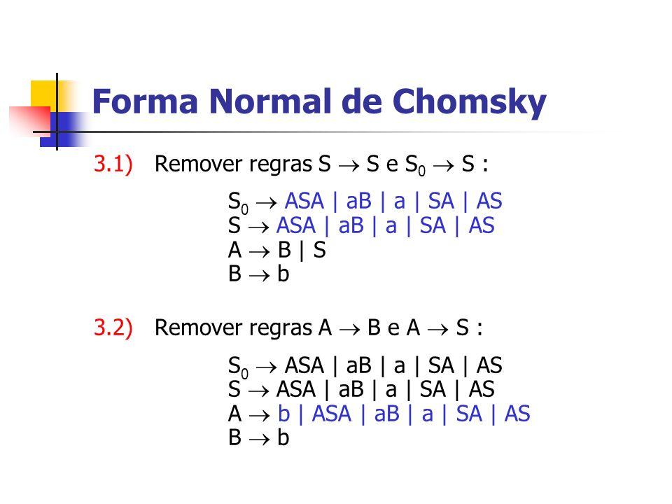 3.1) Remover regras S S e S 0 S : S 0 ASA | aB | a | SA | AS S ASA | aB | a | SA | AS A B | S B b 3.2) Remover regras A B e A S : S 0 ASA | aB | a | S