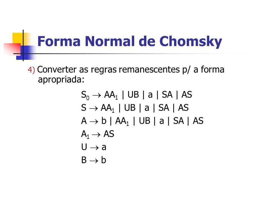 4) Converter as regras remanescentes p/ a forma apropriada: Forma Normal de Chomsky S 0 AA 1 | UB | a | SA | AS S AA 1 | UB | a | SA | AS A b | AA 1 |