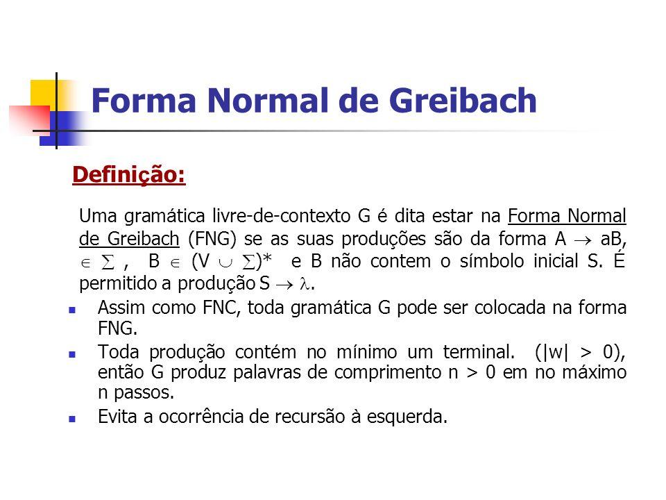Defini ç ão: Uma gram á tica livre-de-contexto G é dita estar na Forma Normal de Greibach (FNG) se as suas produ ç ões são da forma A aB,, B (V )* e B