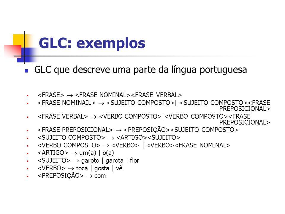 GLC: exemplos | | um(a) | o(a) garoto | garota | flor toca | gosta | vê com GLC que descreve uma parte da língua portuguesa