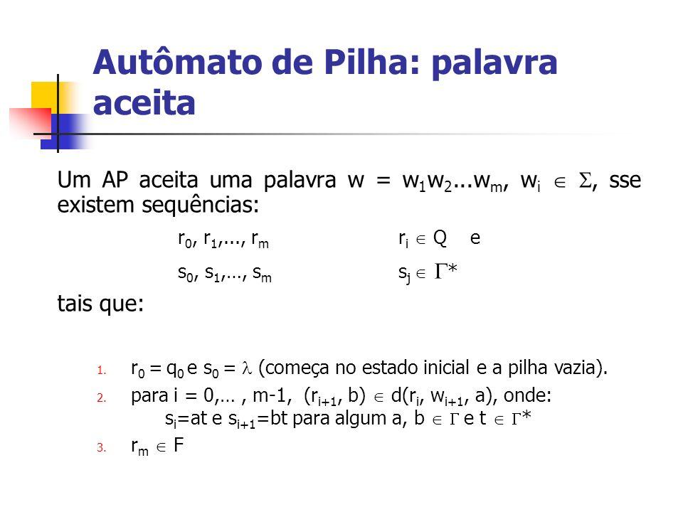 Autômato de Pilha: palavra aceita Um AP aceita uma palavra w = w 1 w 2...w m, w i, sse existem sequências: r 0, r 1,..., r m r i Q e s 0, s 1,…, s m s