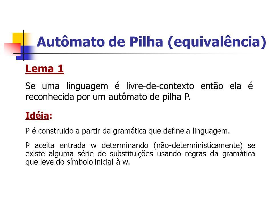 Autômato de Pilha (equivalência) Lema 1 Se uma linguagem é livre-de-contexto então ela é reconhecida por um autômato de pilha P. Idéia: P é construido