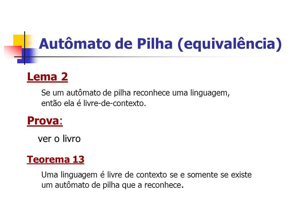 Autômato de Pilha (equivalência) Lema 2 Se um autômato de pilha reconhece uma linguagem, então ela é livre-de-contexto. Prova: ver o livro Teorema 13