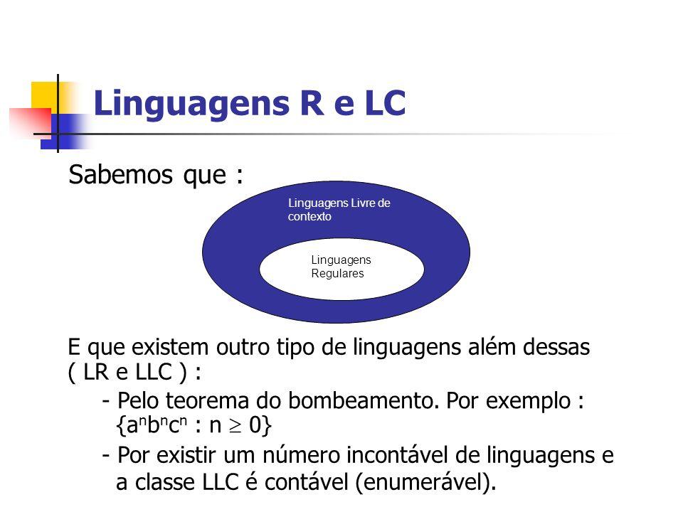 Linguagens R e LC Sabemos que : Linguagens Livre de contexto Linguagens Regulares E que existem outro tipo de linguagens além dessas ( LR e LLC ) : -