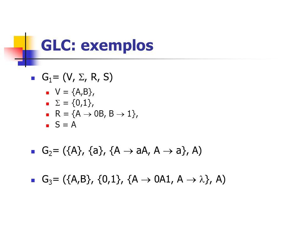 G 1 = (V,, R, S) V = {A,B}, = {0,1}, R = {A 0B, B 1}, S = A G 2 = ({A}, {a}, {A aA, A a}, A) G 3 = ({A,B}, {0,1}, {A 0A1, A }, A) GLC: exemplos