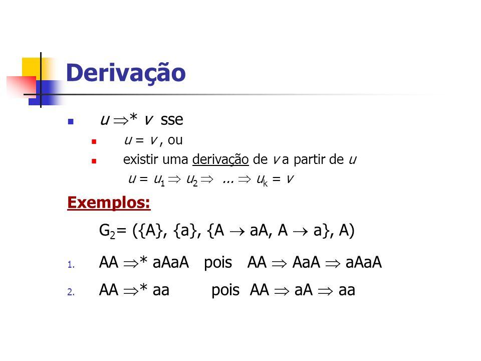 u * v sse u = v, ou existir uma derivação de v a partir de u u = u 1 u 2... u k = v Exemplos: G 2 = ({A}, {a}, {A aA, A a}, A) 1. AA * aAaA pois AA Aa
