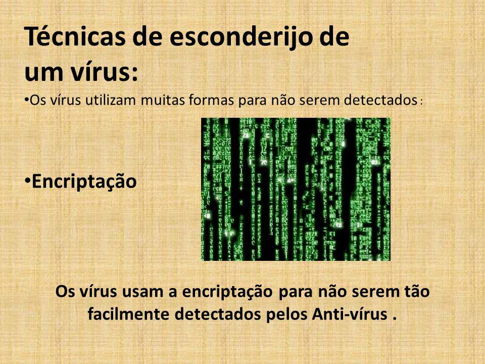 Técnicas de esconderijo de um vírus: Os vírus utilizam muitas formas para não serem detectados : Encriptação Os vírus usam a encriptação para não sere