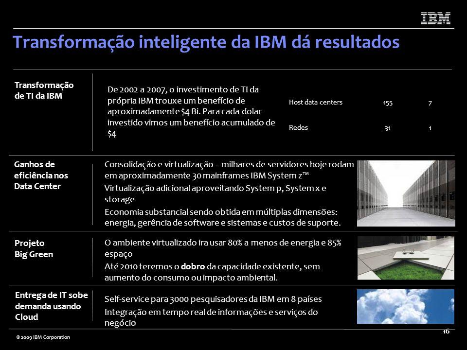 © 2009 IBM Corporation 16 Transformação inteligente da IBM dá resultados Host data centers1557 Redes311 De 2002 a 2007, o investimento de TI da própri