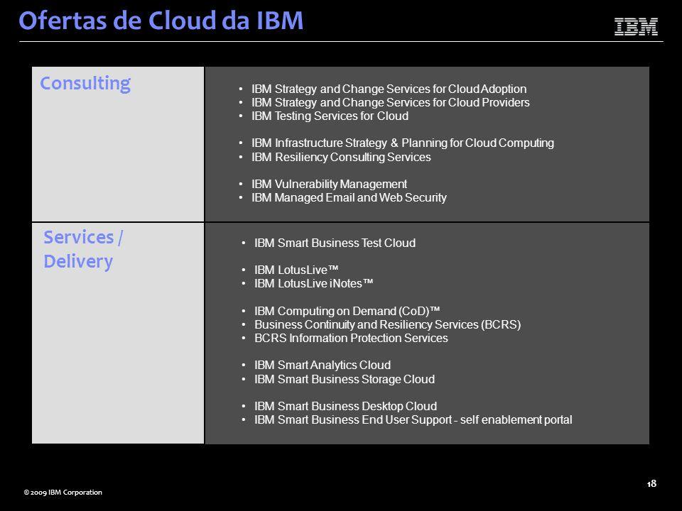 © 2009 IBM Corporation 18 Ofertas de Cloud da IBM Consulting IBM Strategy and Change Services for Cloud Adoption IBM Strategy and Change Services for