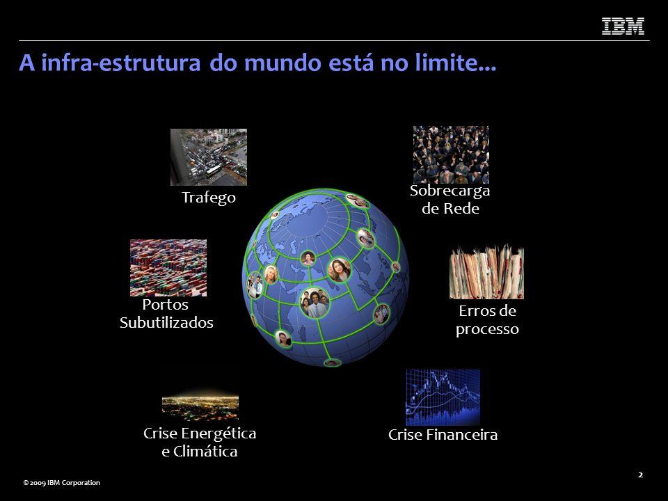 © 2009 IBM Corporation 2 Trafego Sobrecarga de Rede Portos Subutilizados Erros de processo Crise Financeira Crise Energética e Climática A infra-estru
