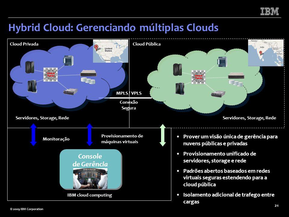 © 2009 IBM Corporation 21 MPLS / VPLS Conexão Segura Hybrid Cloud: Gerenciando múltiplas Clouds IBM cloud computing Monitoração Provisionamento de máq