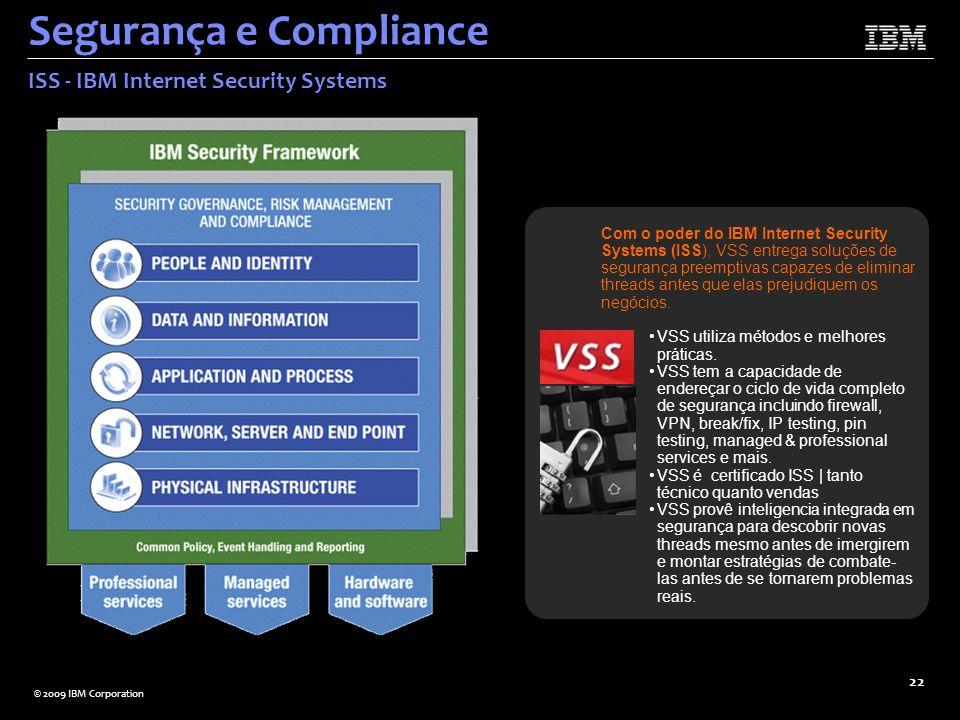 © 2009 IBM Corporation 22 Segurança e Compliance ISS - IBM Internet Security Systems Com o poder do IBM Internet Security Systems (ISS), VSS entrega s