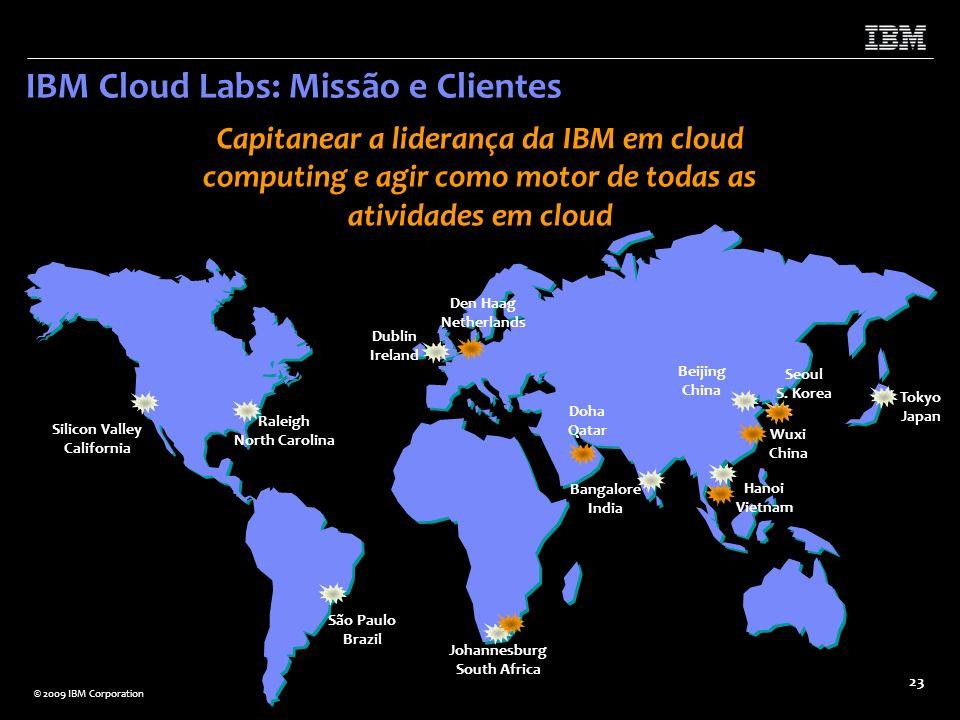 © 2009 IBM Corporation 23 IBM Cloud Labs: Missão e Clientes Silicon Valley California Wuxi China Dublin Ireland Johannesburg South Africa Hanoi Vietna