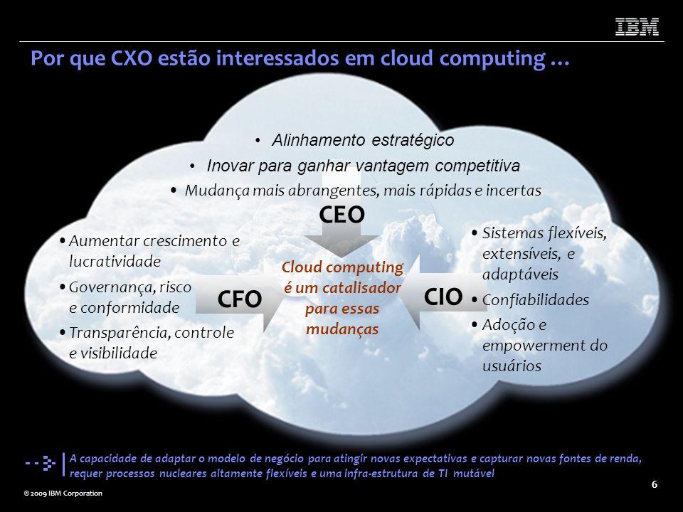 © 2009 IBM Corporation 6 Por que CXO estão interessados em cloud computing … Cloud computing é um catalisador para essas mudanças Sistemas flexíveis,
