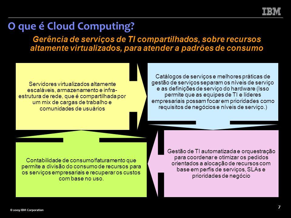 © 2009 IBM Corporation 7 O que é Cloud Computing? Gerência de serviços de TI compartilhados, sobre recursos altamente virtualizados, para atender a pa