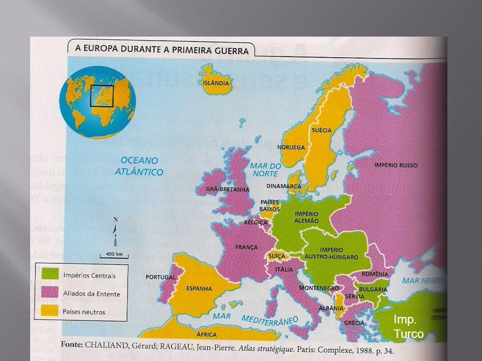 Tríplice Aliança Tríplice Entente Alemanha Imp. Austro-húngaro Itália (declarou neutralidade, mas depois aderiu a Entente) França Inglaterra Rússia Sé