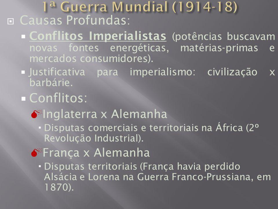Causas Profundas : Conflitos Imperialistas (potências buscavam novas fontes energéticas, matérias-primas e mercados consumidores).