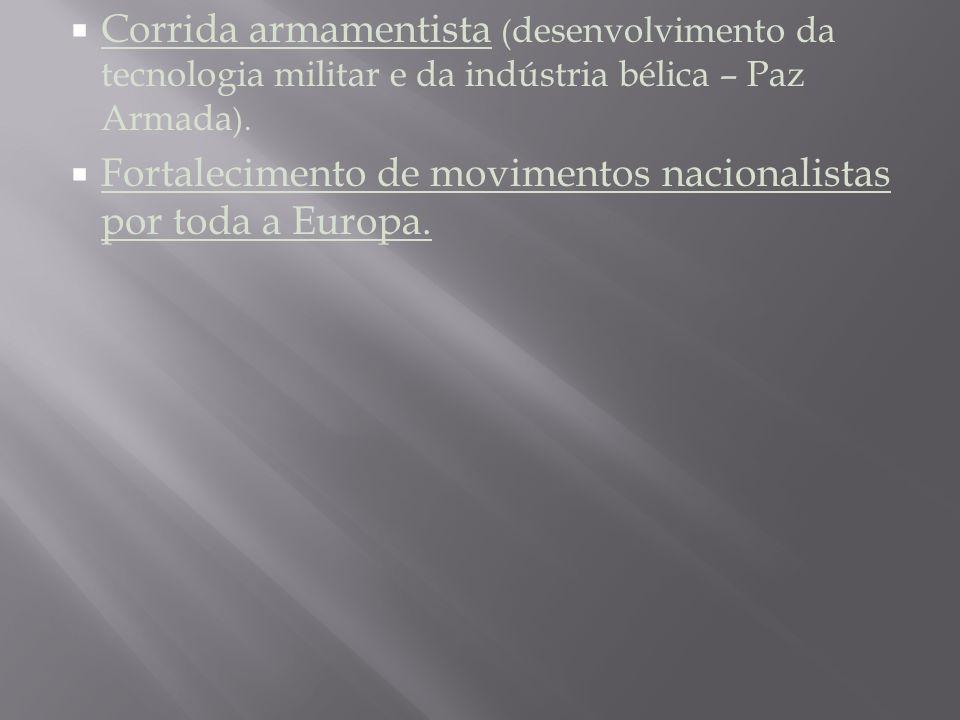 Corrida armamentista ( desenvolvimento da tecnologia militar e da indústria bélica – Paz Armada ).