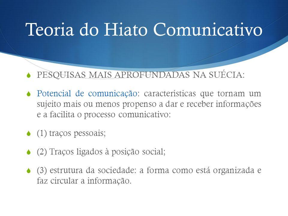 Teoria do Hiato Comunicativo PESQUISAS MAIS APROFUNDADAS NA SUÉCIA: Potencial de comunicação: características que tornam um sujeito mais ou menos prop