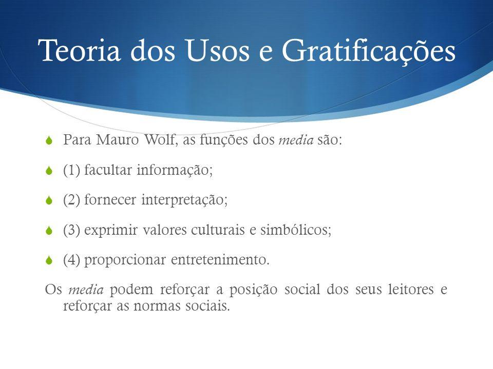 Teoria dos Usos e Gratificações Para Mauro Wolf, as funções dos media são: (1) facultar informação; (2) fornecer interpretação; (3) exprimir valores c