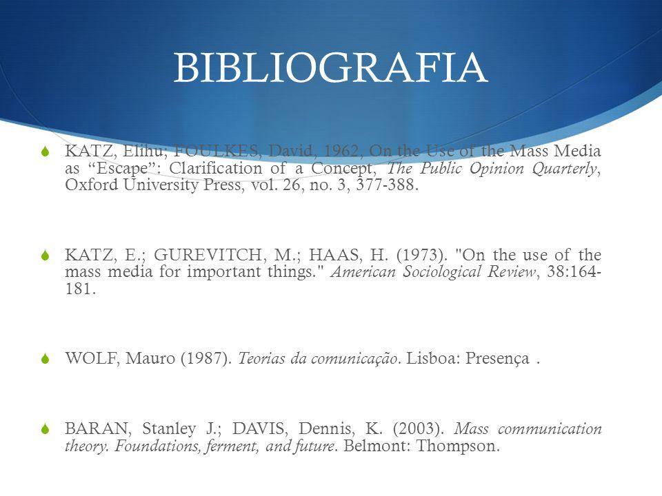 BIBLIOGRAFIA KATZ, Elihu; FOULKES, David, 1962, On the Use of the Mass Media as Escape: Clarification of a Concept, The Public Opinion Quarterly, Oxfo