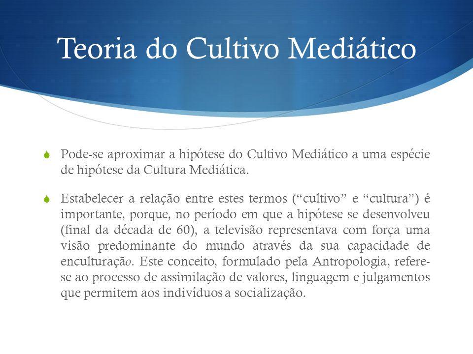 Teoria do Cultivo Mediático Pode-se aproximar a hipótese do Cultivo Mediático a uma espécie de hipótese da Cultura Mediática. Estabelecer a relação en