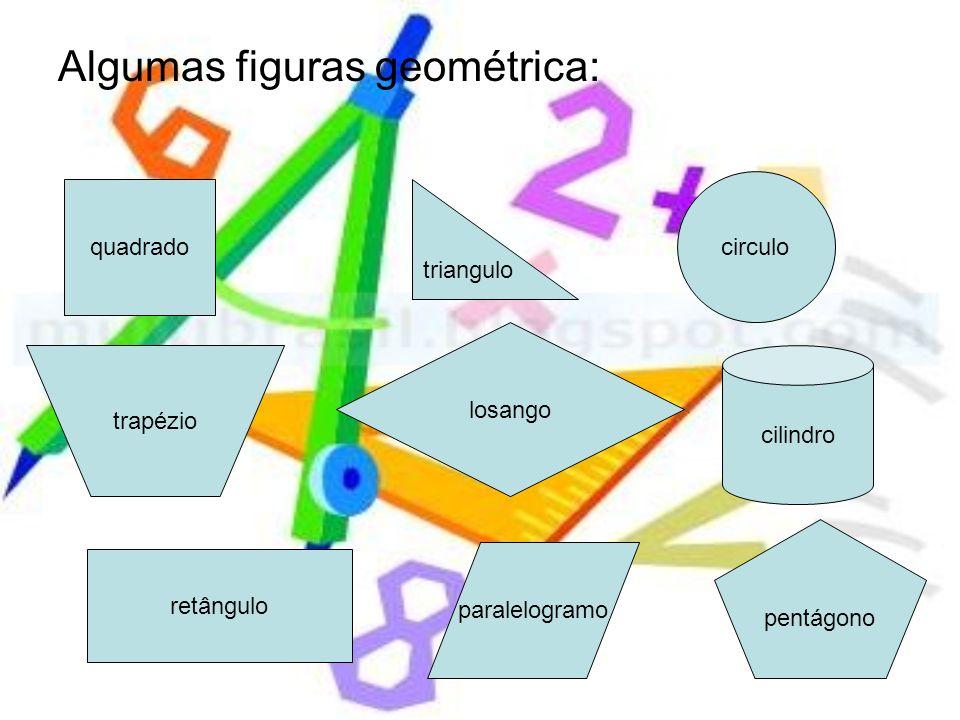 Algumas figuras geométrica: quadrado triangulo circulo trapézio losango retângulo paralelogramo pentágono cilindro