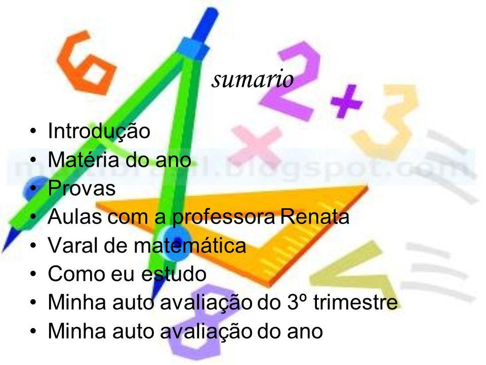 sumario Introdução Matéria do ano Provas Aulas com a professora Renata Varal de matemática Como eu estudo Minha auto avaliação do 3º trimestre Minha a