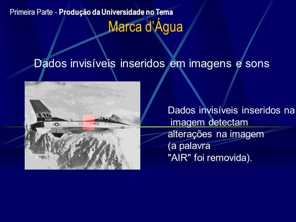 Marca dÁgua Dados invisíveis inseridos em imagens e sons Dados invisíveis inseridos na imagem detectam alterações na imagem (a palavra