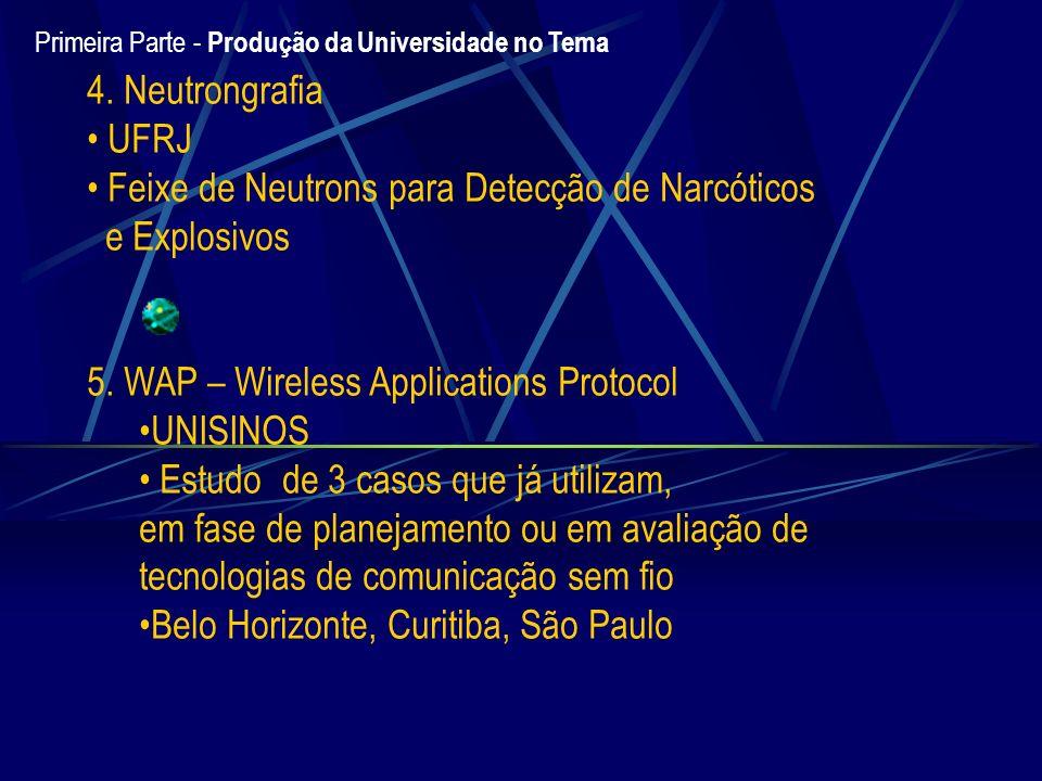 4. Neutrongrafia UFRJ Feixe de Neutrons para Detecção de Narcóticos e Explosivos 5. WAP – Wireless Applications Protocol UNISINOS Estudo de 3 casos qu