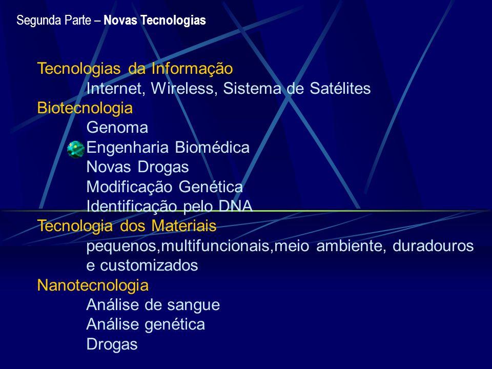 Segunda Parte – Novas Tecnologias Tecnologias da Informação Internet, Wireless, Sistema de Satélites Biotecnologia Genoma Engenharia Biomédica Novas D