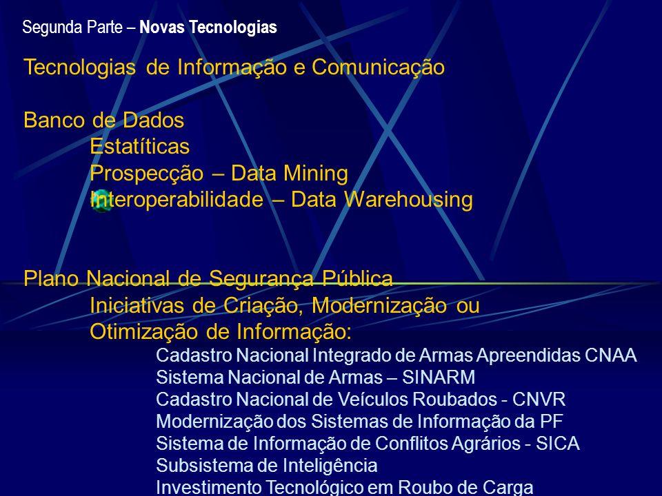 Segunda Parte – Novas Tecnologias Tecnologias de Informação e Comunicação Banco de Dados Estatíticas Prospecção – Data Mining Interoperabilidade – Dat