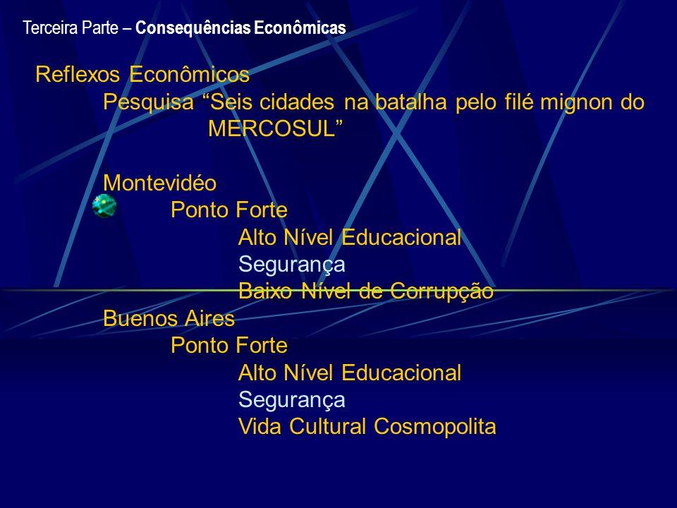 Terceira Parte – Consequências Econômicas Reflexos Econômicos Pesquisa Seis cidades na batalha pelo filé mignon do MERCOSUL Montevidéo Ponto Forte Alt