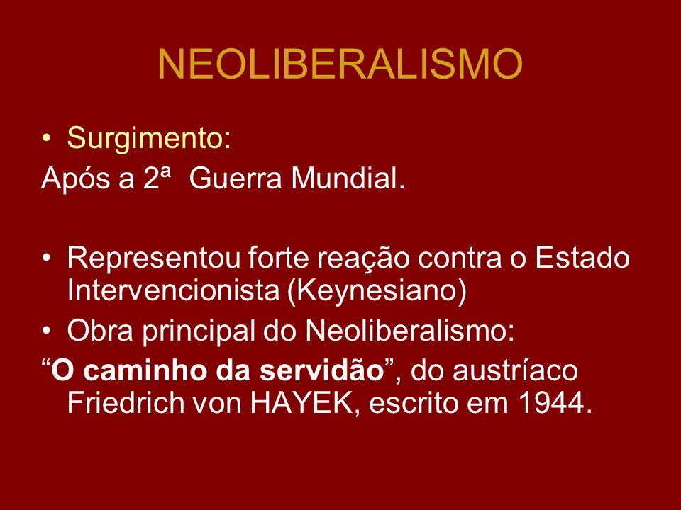 KEYNESIANISMO Princípio do Keynesianismo: KEYNES, depois da Grande Depressão, de 1929, defende que: o Estado deveria assumir a intervenção na Economia
