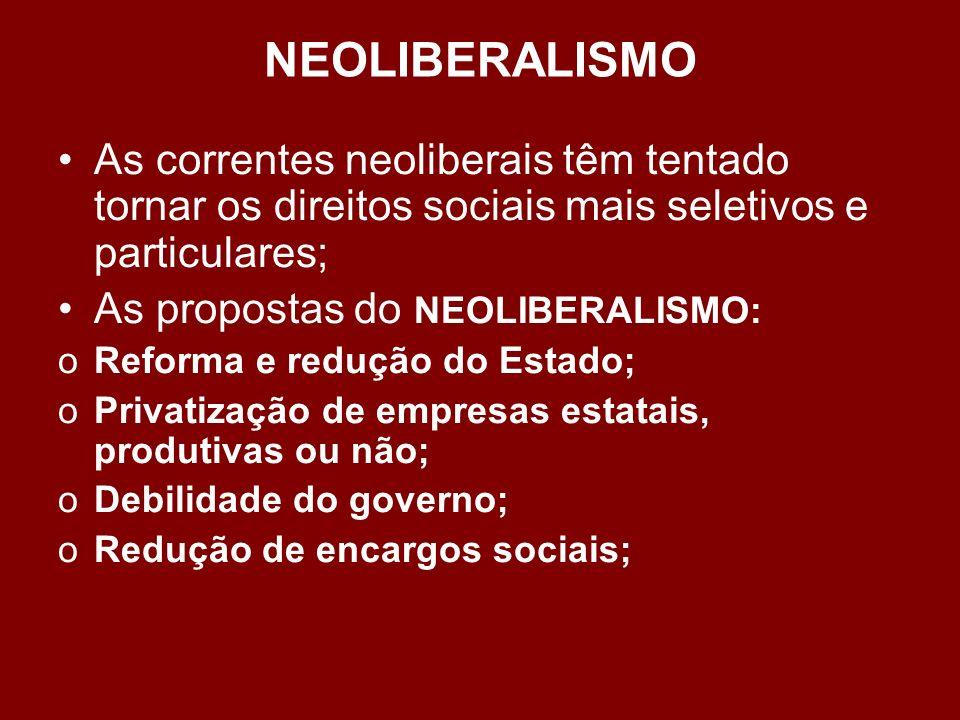 NEOLIBERALISMO Características do neoliberalismo: 1.Corte de despesas públicas. 2.Corte de benefícios sociais. 3.Liberalismo econômico. 4.Venda de emp