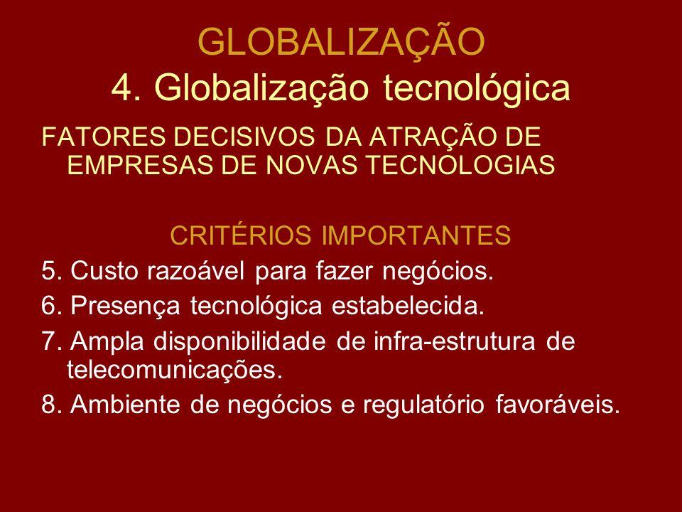 GLOBALIZAÇÃO 4. Globalização tecnológica FATORES DECISIVOS DA ATRAÇÃO DE EMPRESAS DE NOVAS TECNOLOGIAS CRITÉRIOS ESSENCIAIS 1.Acesso a mão de obra qua