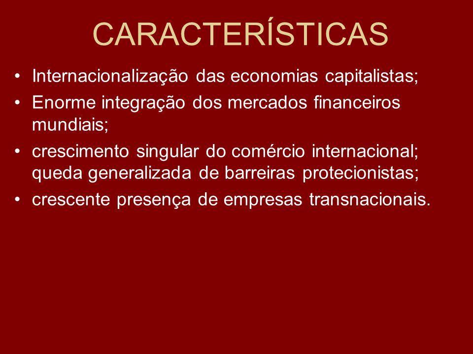 CARACTERÍSTICAS Internacionalização das economias capitalistas; Enorme integração dos mercados financeiros mundiais; crescimento singular do comércio internacional; queda generalizada de barreiras protecionistas; crescente presença de empresas transnacionais.