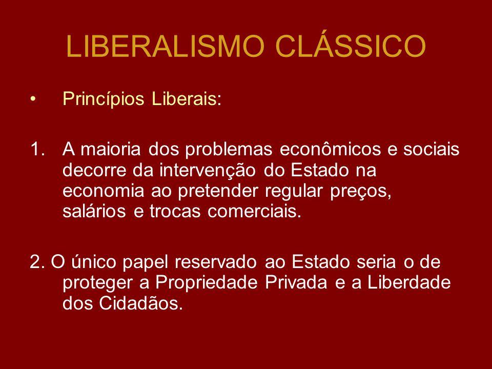 LIBERALISMO CLÁSSICO Princípios Liberais: 1.A maioria dos problemas econômicos e sociais decorre da intervenção do Estado na economia ao pretender regular preços, salários e trocas comerciais.
