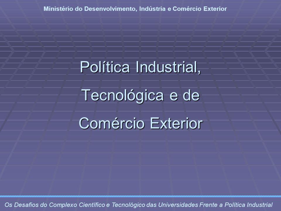 Diretrizes Aumento da eficiência produtiva Aumento da eficiência produtiva Redução da vulnerabilidade externa Redução da vulnerabilidade externa Estímulo ao investimento e à produtividade Estímulo ao investimento e à produtividade Desenvolvimento da base produtiva do futuro Desenvolvimento da base produtiva do futuro Ministério do Desenvolvimento, Indústria e Comércio Exterior Os Desafios do Complexo Científico e Tecnológico das Universidades Frente a Política Industrial