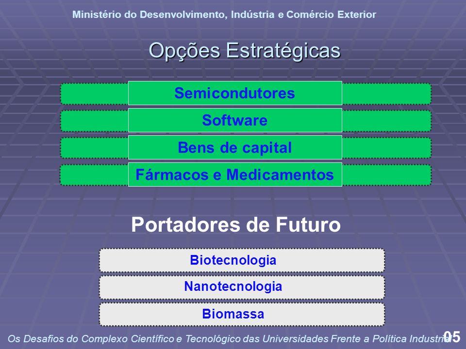 Semicondutores Software Fármacos e Medicamentos Bens de capital Nanotecnologia Biotecnologia Biomassa Opções Estratégicas Portadores de Futuro 05 Mini