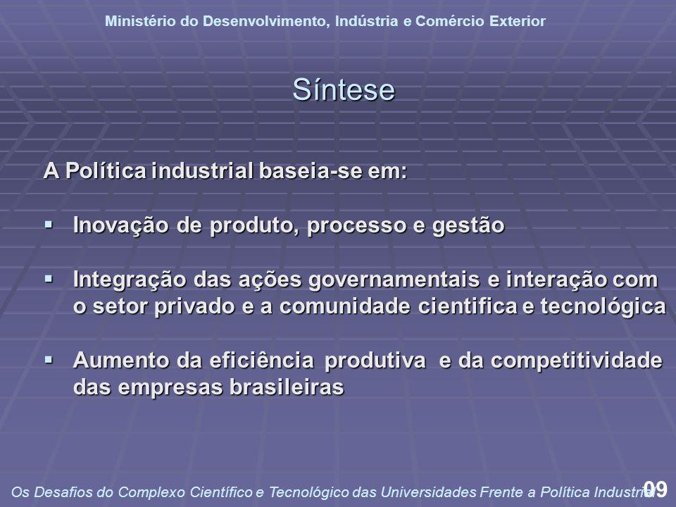 Síntese A Política industrial baseia-se em: Inovação de produto, processo e gestão Inovação de produto, processo e gestão Integração das ações governa