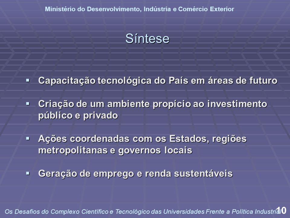 Capacitação tecnológica do País em áreas de futuro Capacitação tecnológica do País em áreas de futuro Criação de um ambiente propício ao investimento