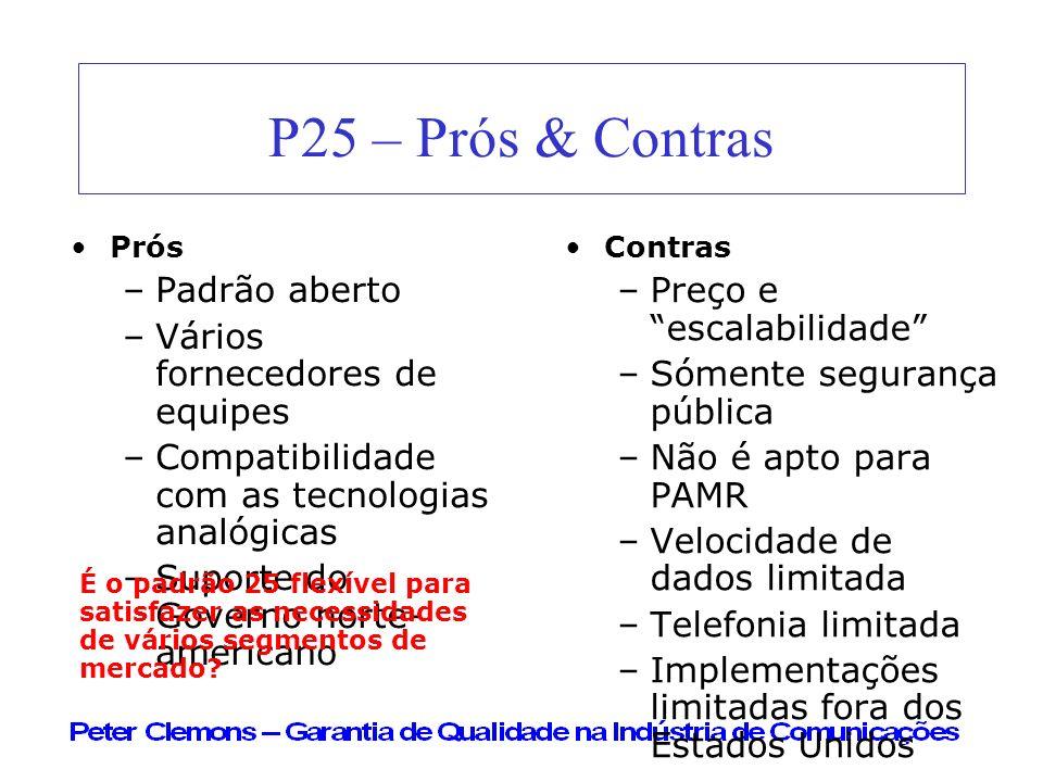 P25 – Prós & Contras Prós –Padrão aberto –Vários fornecedores de equipes –Compatibilidade com as tecnologias analógicas –Suporte do Governo norte- ame