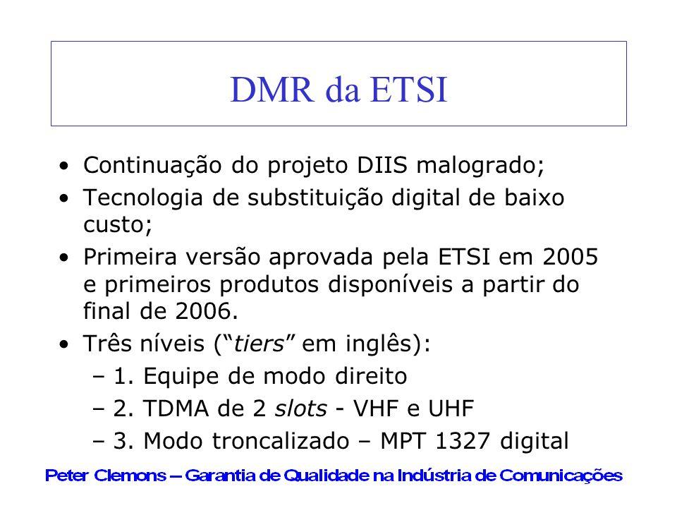 DMR da ETSI Continuação do projeto DIIS malogrado; Tecnologia de substituição digital de baixo custo; Primeira versão aprovada pela ETSI em 2005 e pri