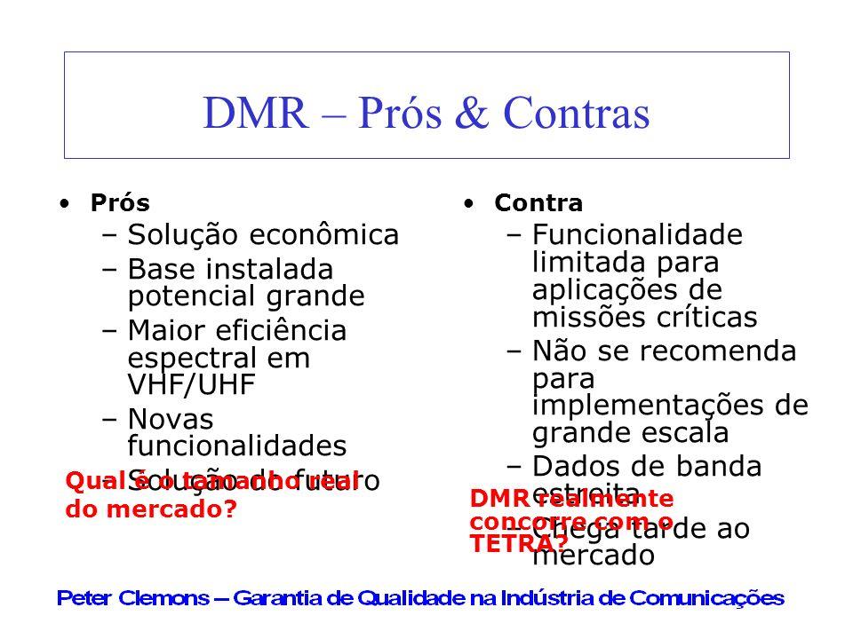 DMR – Prós & Contras Prós –Solução econômica –Base instalada potencial grande –Maior eficiência espectral em VHF/UHF –Novas funcionalidades –Solução d