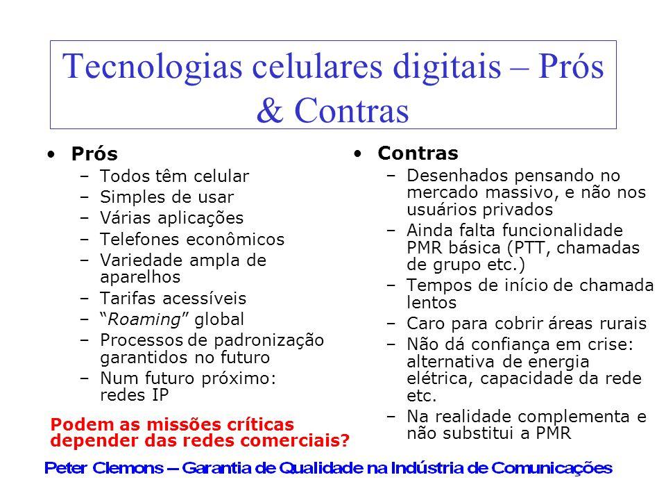 Tecnologias celulares digitais – Prós & Contras Prós –Todos têm celular –Simples de usar –Várias aplicações –Telefones econômicos –Variedade ampla de