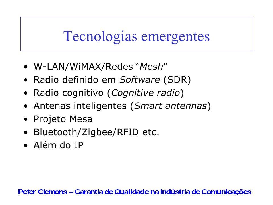 Tecnologias emergentes W-LAN/WiMAX/Redes Mesh Radio definido em Software (SDR) Radio cognitivo (Cognitive radio) Antenas inteligentes (Smart antennas)