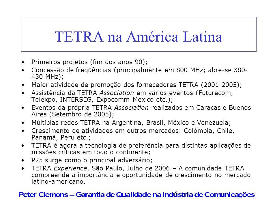 TETRA na América Latina Primeiros projetos (fim dos anos 90); Concessão de freqüências (principalmente em 800 MHz; abre-se 380- 430 MHz); Maior ativid